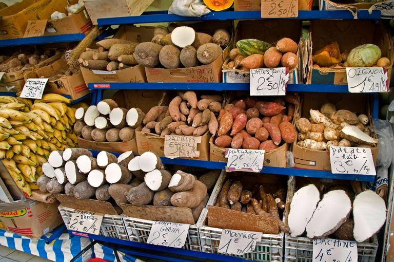 Fresh fruit and veg in Barbes, Paris.