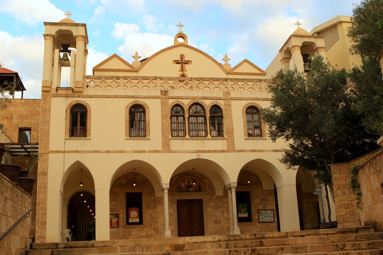The St Dimitrios Church in Beirut has a distinctive yellow-and-white facade
