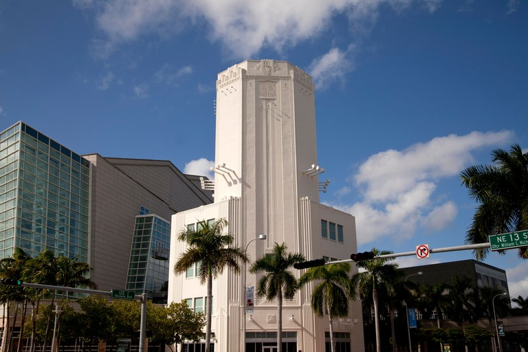 Art Deco Tower of the Adrienne Arsht Center for the Performing Arts in Downtown Miami, Florida, USA