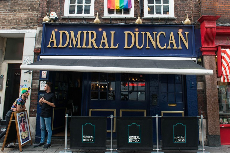 London UK. 14th June 2016 Admiral Duncan pub shows solidarity with Orlando shooting victims. ©Michael Tubi/ Alamy Live