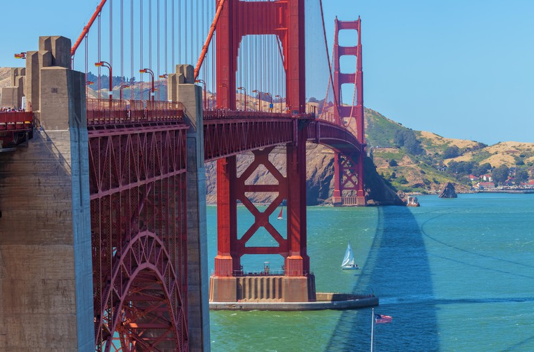 The iconic Golden Gate Bridge in San Francisco