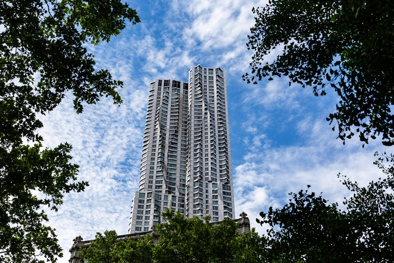 New York City / USA - JUN 20 2018: New York by Gehry in the Financial District of Lower Manhattan in New York City