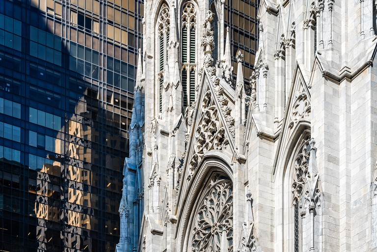 Detail of facade, St Patrick Cathedral of New York City.