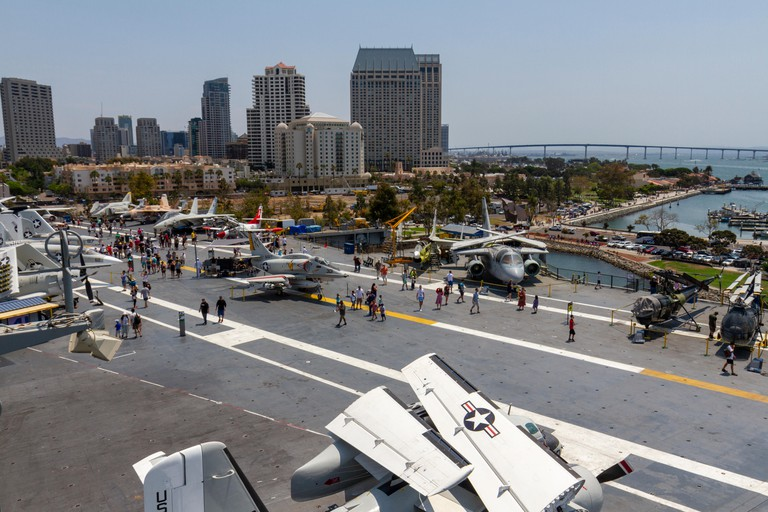 General view across the flight deck of the USS Midway Museum, San Diego Bay, California, United States