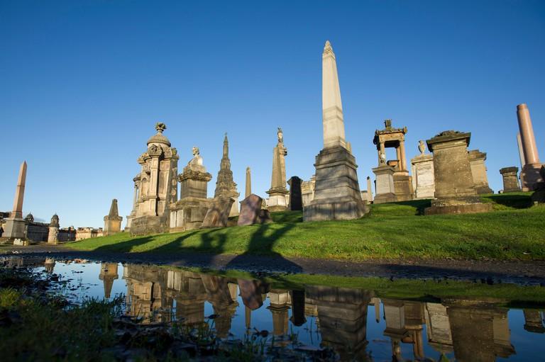 The Glasgow Necropolis , Victorian cemetery in Glasgow, Scotland
