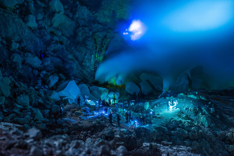 Blue fire of Mount Ijen in 23 May 2016, Kawah ijen, Java, Indonesia.