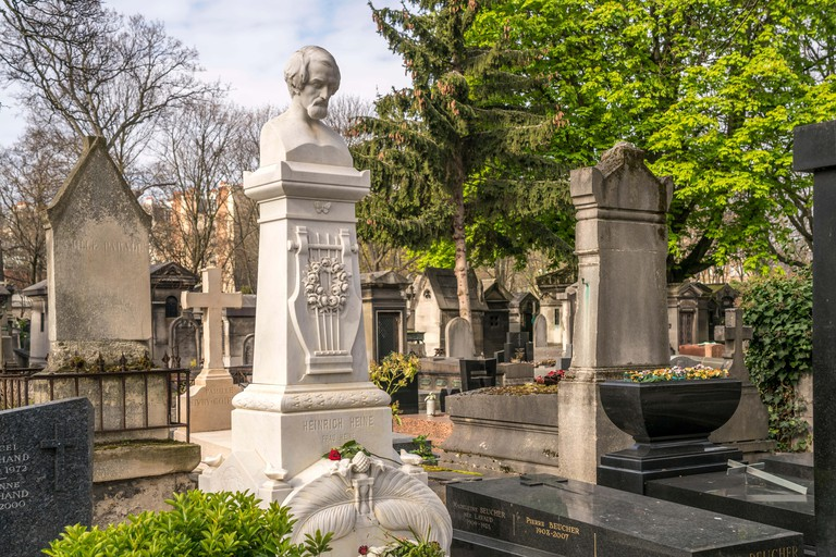 Tomb of the poet Heinrich Heine at the Montmartre cemetery, Paris.