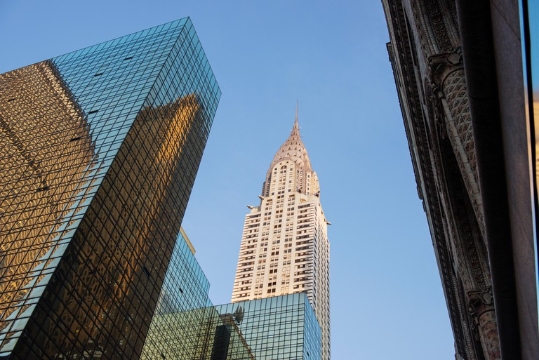Low angle view of Chrysler Building against clear sky