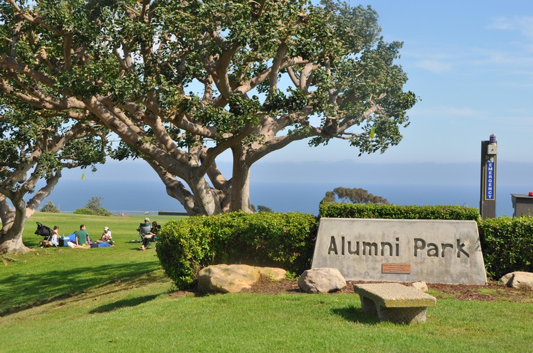 Alumni Park, with the Pacific Ocean in the background, on the Campus of Pepperdine University, Malibu California