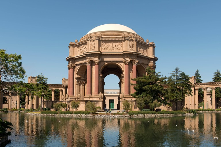 Palace of Fine Arts in the Marina District of San Francisco, California, a monumental structure originally constructed for the 1915 Panama-Pacific Exposition