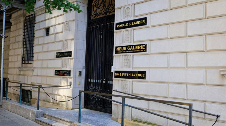 New York, NY, USA - Dec 24, 2020: Neue Galerie museum entrance dedicated to German and Austrian art at 86th St and Fifth Avenue