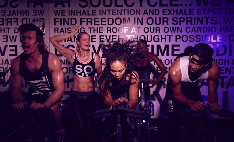 SoulCycle class in session. Williamsburg, Brooklyn, New York.