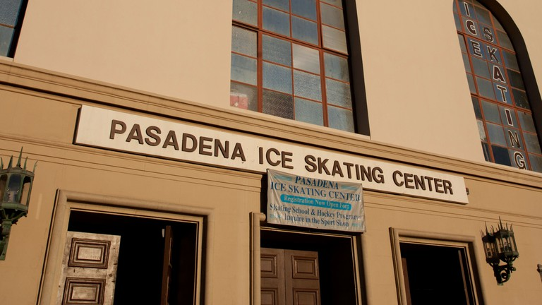 General view of the front of Pasadena Ice Skating Center, Pasadena, Los Angeles, USA.