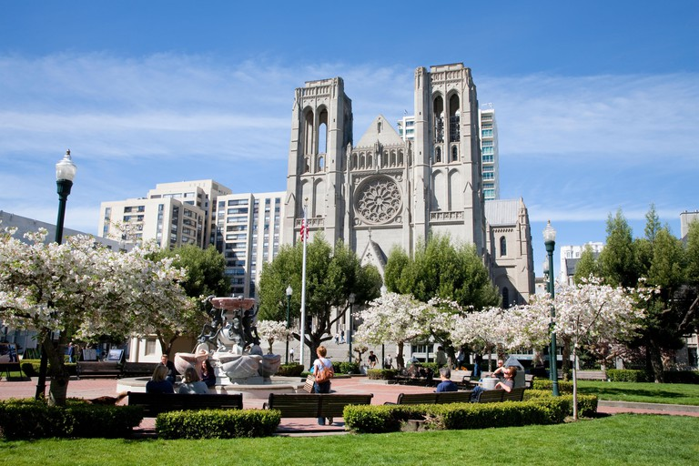 Grace Cathedral and Huntington Park with spring flowering trees, San Francisco