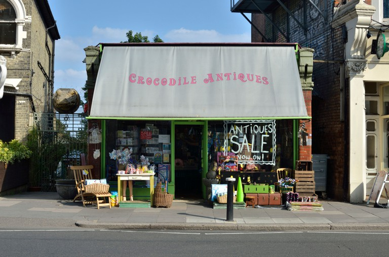Crocodile Antiques shop in Muswell Hill, London, UK.