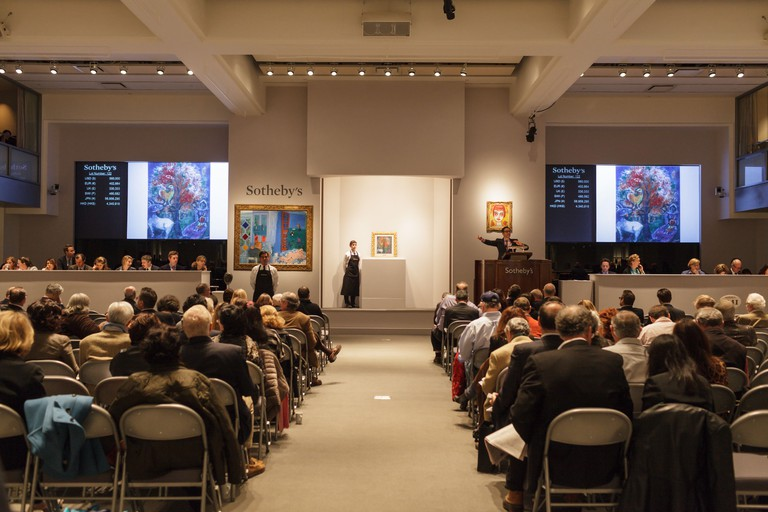 Bidding under way on a Chagall painting, Sotheby's fine art auction, New York, New York, USA