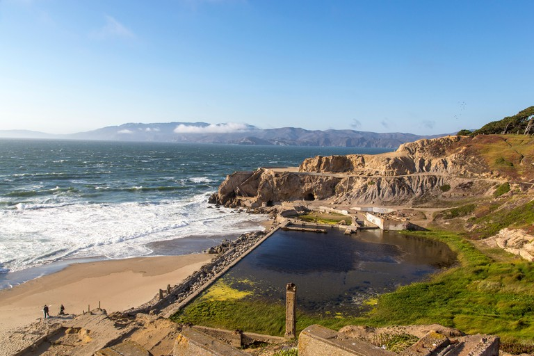 Ruins of the Sutro baths along the Pacific Oceans at Lands End in San Francisco, California, USA.