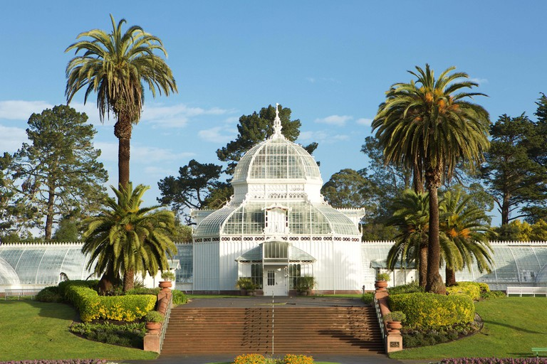 The Victorian Conservatory of Flowers botanical garden in Golden Gate Park, San Francisco, California.