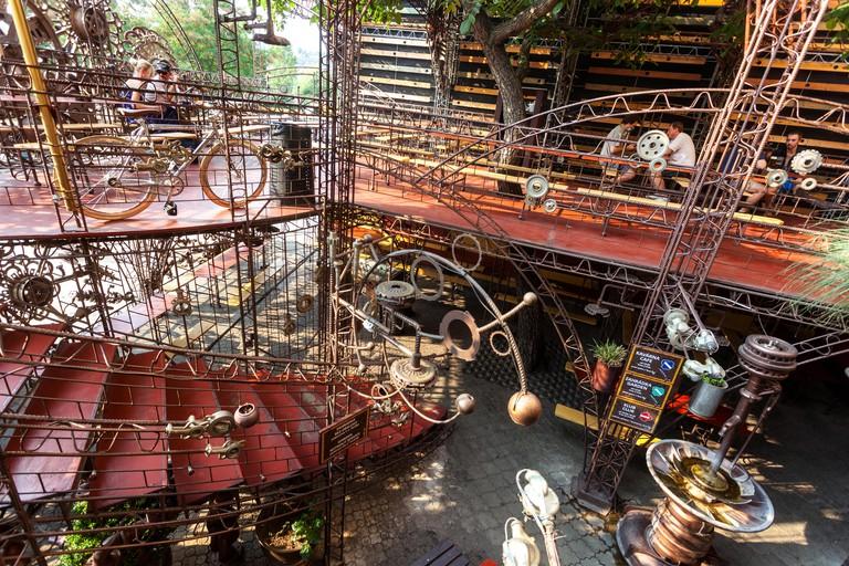 Cross Club, favorite music club, an outdoor restaurant spaces, Industrial art style. Holesovice, Prague, Czech Republic