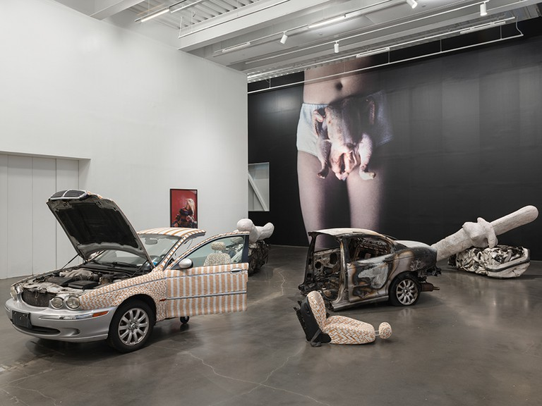 A scene from the Sarah Lucas: Au Naturel exhibition at the New Museum in New York.