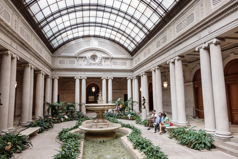 New York, NY, NYC, New York City, Manhattan, Upper East Side, The Frick Collection, art museum, garden court, fountain, skylight, ionic columns, bench
