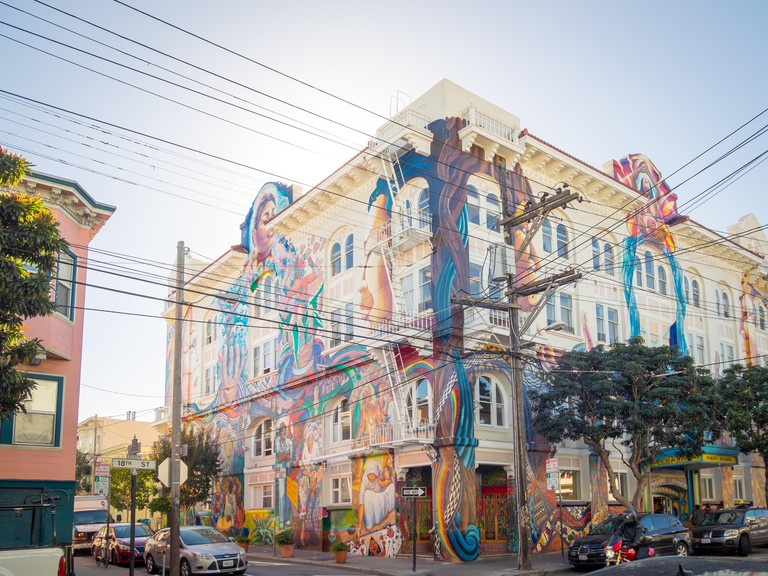 The stunning MaestraPeace mural on the exterior of The Women's Building in the Mission District of San Francisco, California.