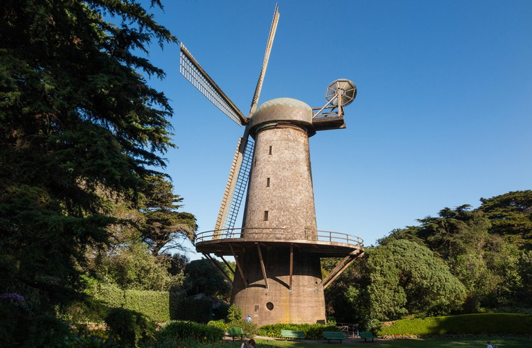 The Dutch Windmill and Queen Wilhelmina Tulip Garden at the Golden Gate Park, San Francisco