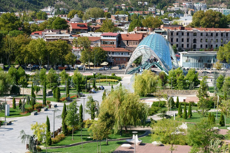 View of Rike Park with Bridge of Peace in center of Tbilisi city, Georgia