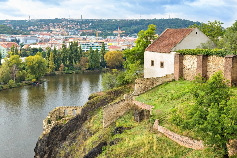 Vyšehrad is on the banks of the Vltava River