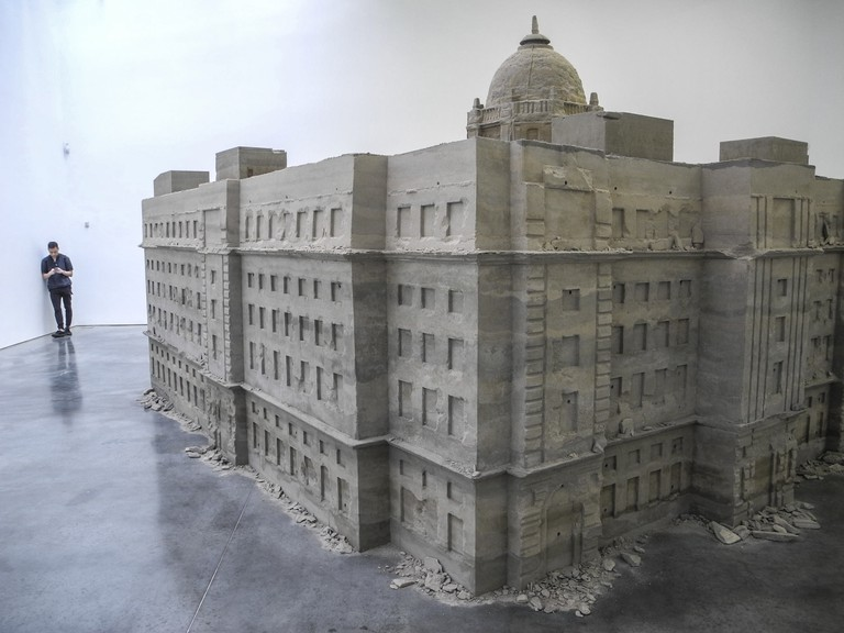 'Bank of Sand, Sand of Bank' by Chinese artist Huang Yong Ping stands in the Gladstone Gallery