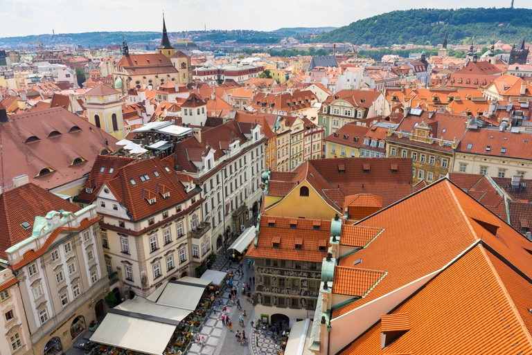 Old Town as seen from the Old Town Hall Prague Czech Republic Europe