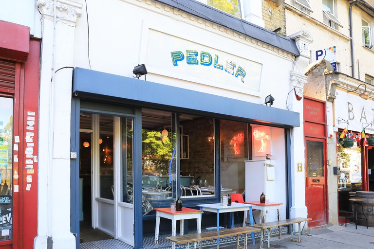 Restaurants around the tip of the trendy Peckham Rye triangle, in south London UK
