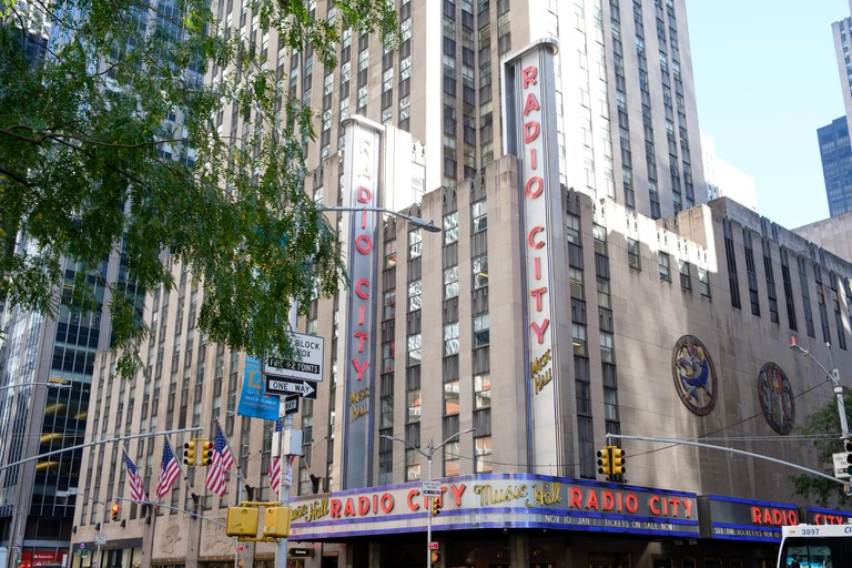 Outside view of Radio city music hall in New York USA