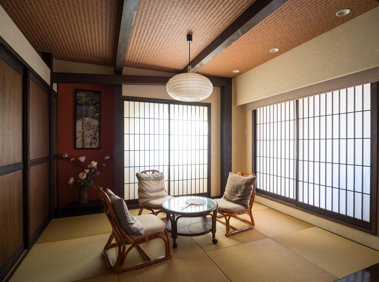 A modern Japanese-style room in a traditional ryokan, Shibuya