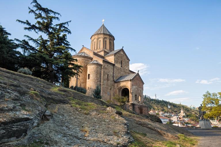 Metekhi Church 12th century Georgian Orthodox church in center of Tbilisi on Metekhi Rock