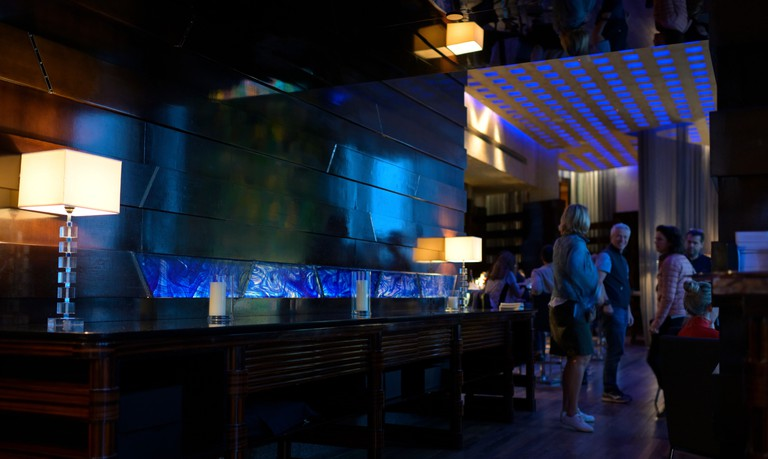 The Blue Bar at the Four Seasons Hotel in Hong Kong.