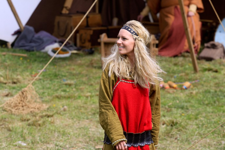 People travel to Bukkøy to take part in Viking reconstructions and sports