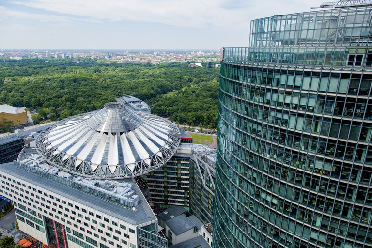 Buildings designed by architects Renzo Piano and Richard Rogers stand in Potsdamer Platz
