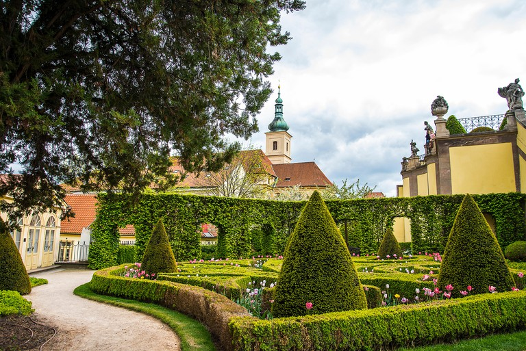The Vrtba Garden in Prague is one of several fine High Baroque gardens in the Czech capital. . It is listed for its historic cultural values by UNESCO