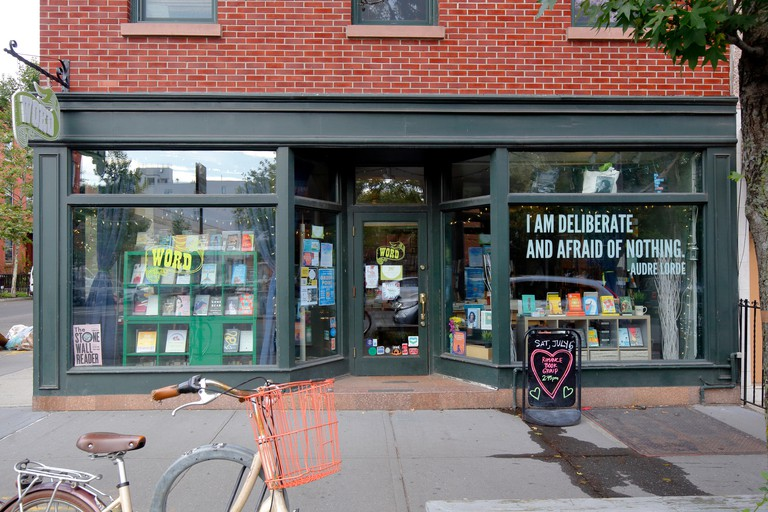 WORD, 126 Franklin Street, Brooklyn, NY. exterior storefront of a bookstore and community space in Greenpoint.. Image shot 07/2019. Exact date unknown.