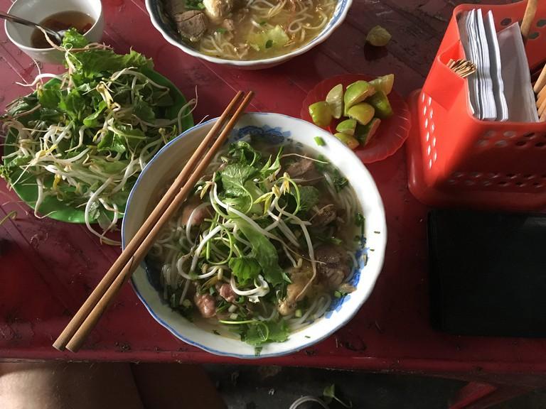 Bun bo Hue and its garnishes