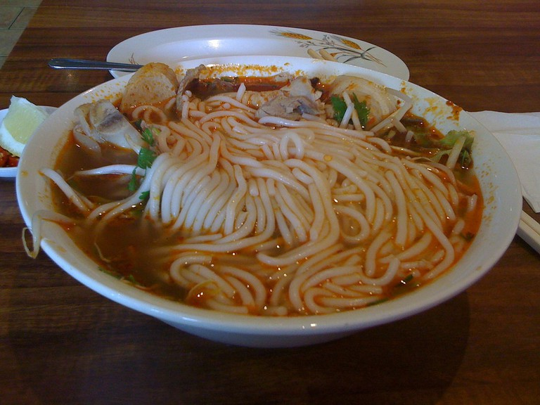 The noodles used for Bun bo Hue is thick and slippery