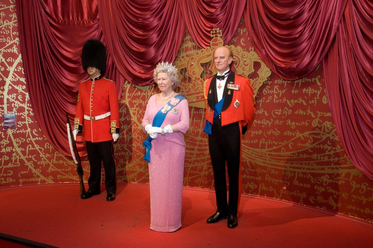 Waxwork models of the Queen and Prince Philip are on display at Madame Tussauds