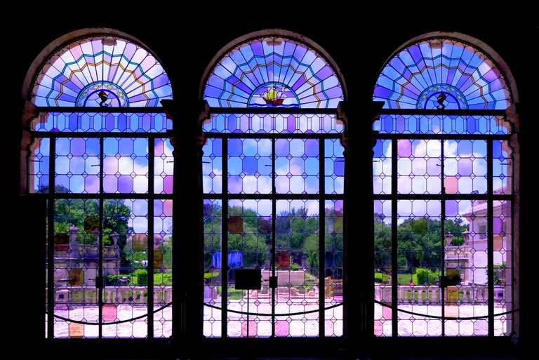 Stained glass windows in The Tea Room - Vizcaya Museum & Gardens, Biscayne Bay, Miami, FL (Biscayne Bay).
