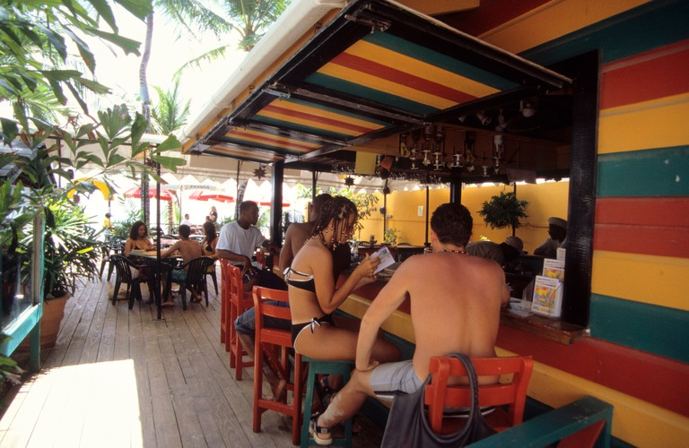 Relaxing at the Harbour lights Bar in Bridgetown, Barbados.