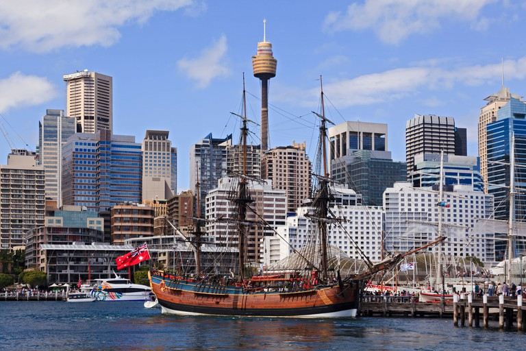 sydney australia landmarks HMAS tallship Endeavour by James Cook at Sydney Harbour day time museum
