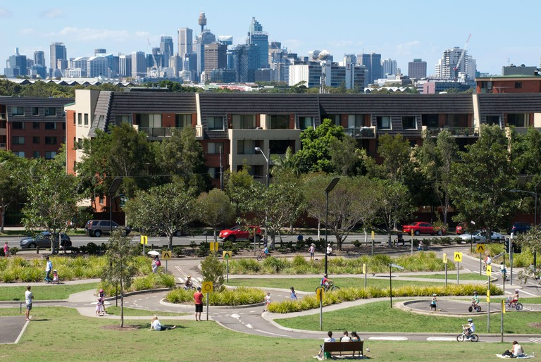 City views from Sydney Park, with learner's road in the park, built for bicycles and scooters.