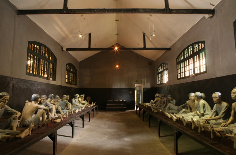 Recreation of cruel conditions in Hoa Lo Prison Museum in Hanoi.
