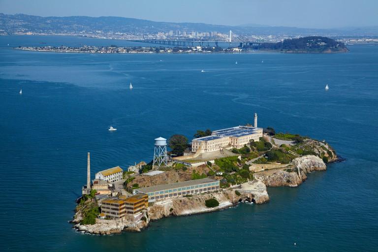 Alcatraz Island, former maximum high-security federal prison, San Francisco Bay, San Francisco, California, USA - aerial