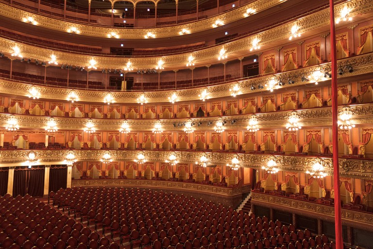 A shot of the inside of the Colon Theatre in Buenos Aires taken from the Presidential Box.